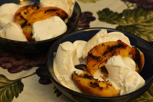 Grilled Peaches with Vanilla and Creme Caramel Ice Cream