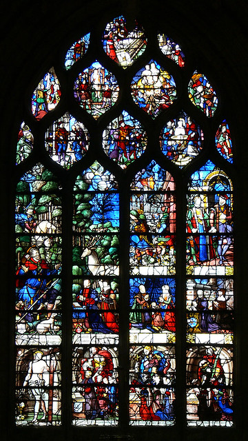 Scenes from the Life of St. Eustace, French renaissance stained glass