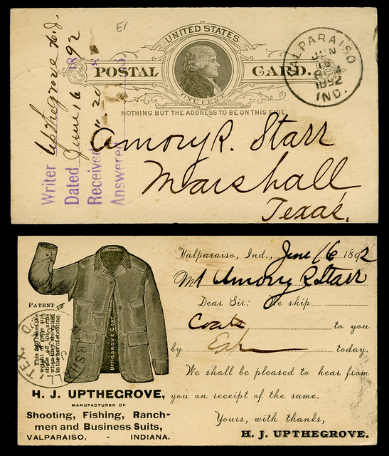 H. J. Upthegrove, Manufacturer of Shooting, Fishing, Ranchmen and Business Suits, Valparaiso, Indiana, 1892 - Postal Cover
