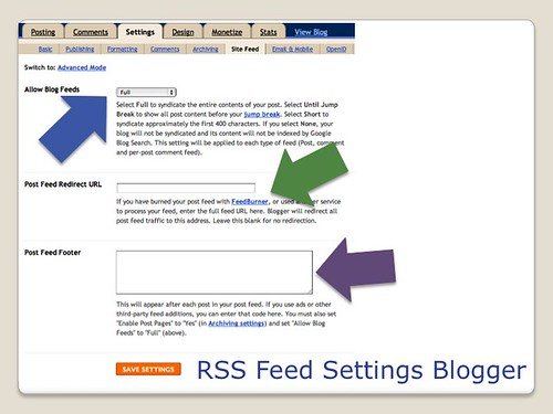 Blogging Tools - Blogger RSS Feed Settings