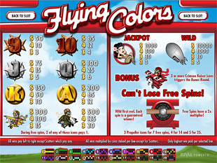 Flying Colors Slots Payout
