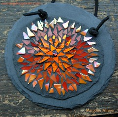 Orange Flower Mandala on Slate by Margaret Almon (Nutmeg Designs) Tags: orange flower glass mosaic mandala slate rainbowseries nutmegdesigns margaretalmon goldsmalti