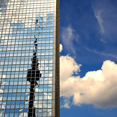 Sky parking (Arni J.M.) Tags: sky reflection building berlin glass architecture clouds germany geotagged alexanderplatz fernsehturm geotag parkinn nikond80
