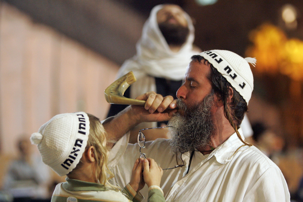 Blowing the Shofar at the Wailing Wall