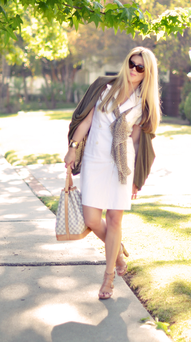 white linen double breasted  ralph lauren dress with cardigan