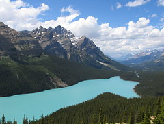 Peyto Lake, Banff NP, Canada (Pixmac_at) Tags: wood trees summer sun canada mountains nature water sunshine weather clouds forest landscapes daylight rocks seasons horizon lakes bluesky nobody hills valley vegetation daytime summertime np nationalparks naturalworld exteriors peytolake waterlevel mountainpeaks summits banffnp aboveview utdoors viewfromviewpoint tipofthehills