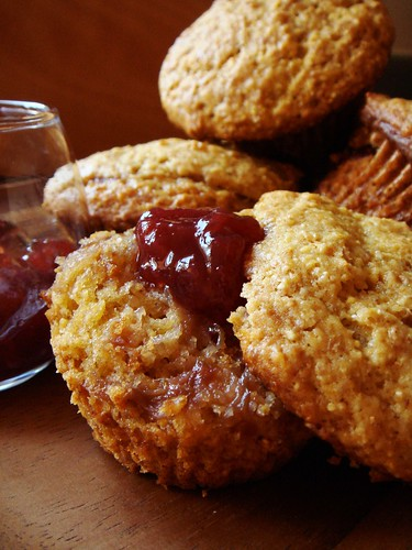 Corn Muffin with Raspberry Rhubarb Jam