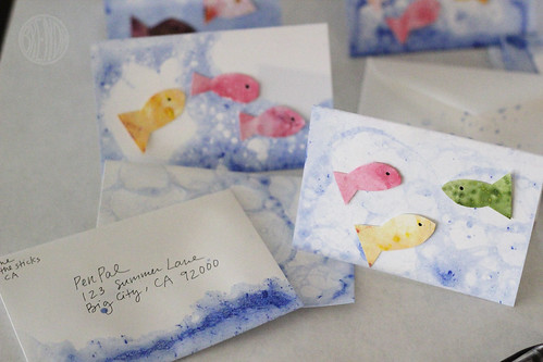 bubble fish art cards for mailing