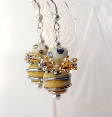 Handmade lampwork earrings. (GladRaggz) Tags: silver spiral fun handmade jewelry accessories earrings bumblebees dangle globes lampwork discs sterlingsilver