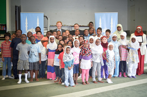 """An Nur summer school students pose for a group picture with staff and administrators"" (Photo courtesy of IRUSA)"