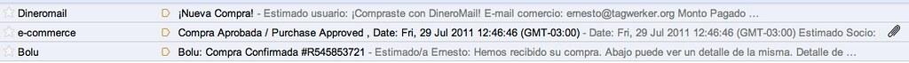 Emails de Confirmación de una Compra Exitosa