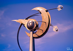 Southport Air Show Sculpture (Paul-M-W) Tags: sunset sky sculpture moon beach metal stars crossprocessed post steel space lamppost astronomy seafront astral comet southport southportairshow d3100