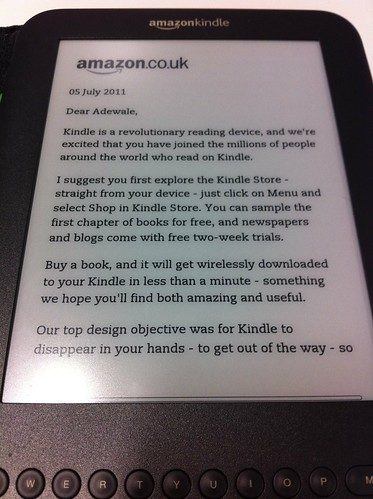Kindle personalisation
