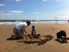 Helping with sand castle