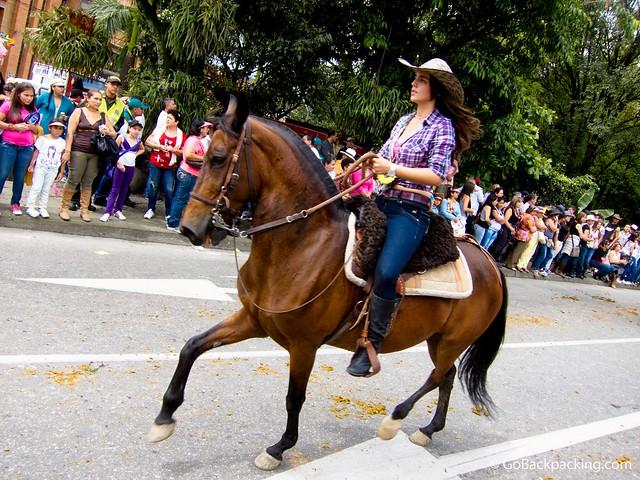 Start of 25th annual El Desfile a Caballo in Medellin, Colombia