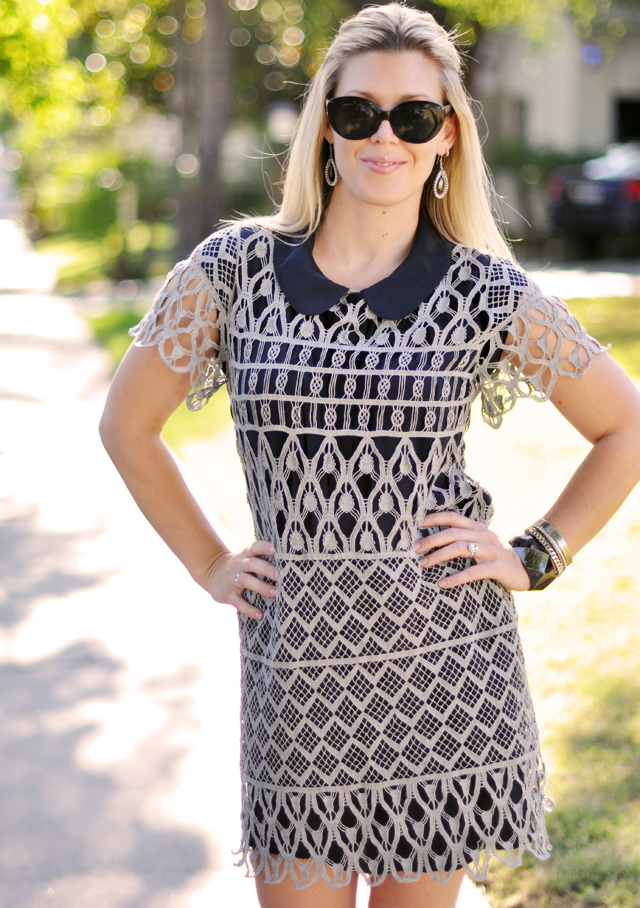 cat eye sunglasses from the 90s -lace dress-peter pan collar