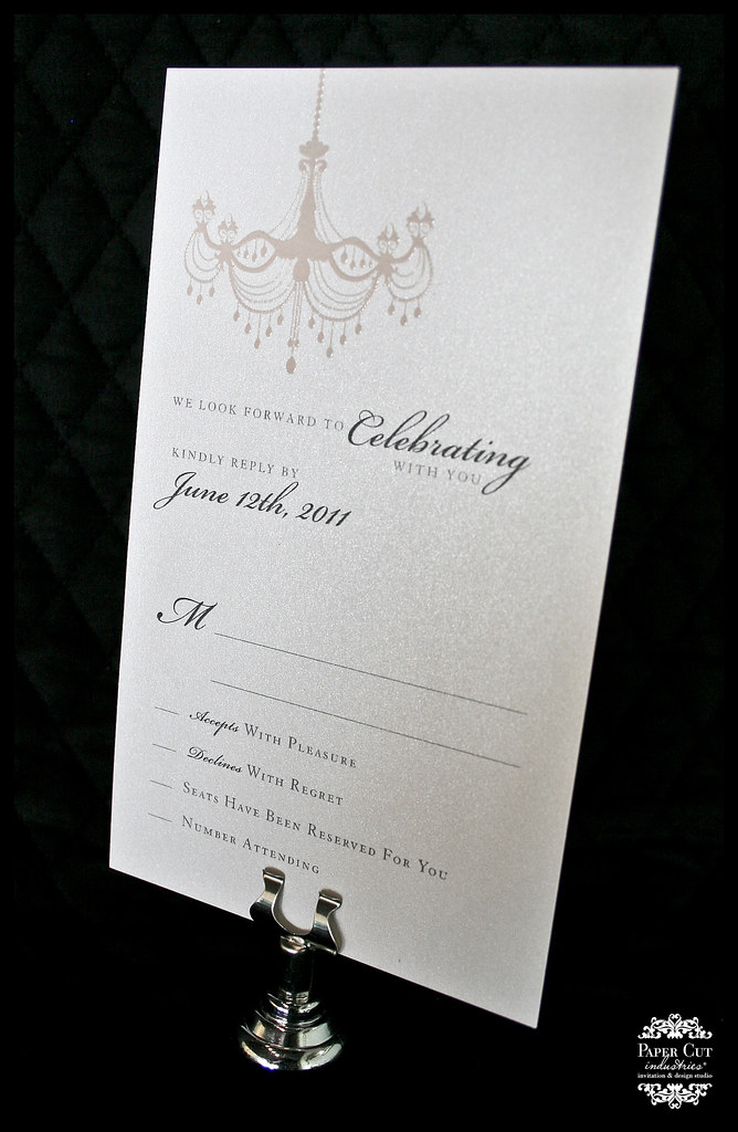 Pink and Silver Chandelier Wedding Invitation