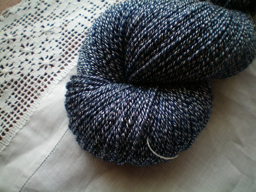 Overdyed commercial sock yarn
