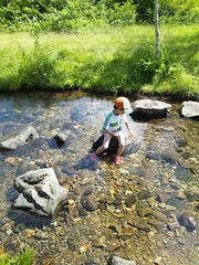 川でランチの写真