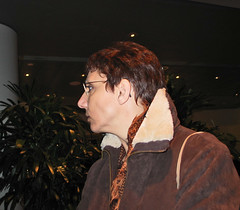 London - National Gallery - Feb 2003 - Titian at the Titian Exhibition - Feb 2003 (Gareth1953 All Right Now) Tags: 2003 portrait woman london beautiful leather hair glasses candid profile exhibition nationalgallery jacket mature short wife canong3 titian