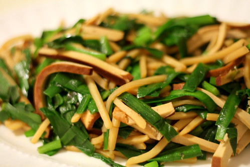 Bamboo Chive and Pressed Tofu Stirfry