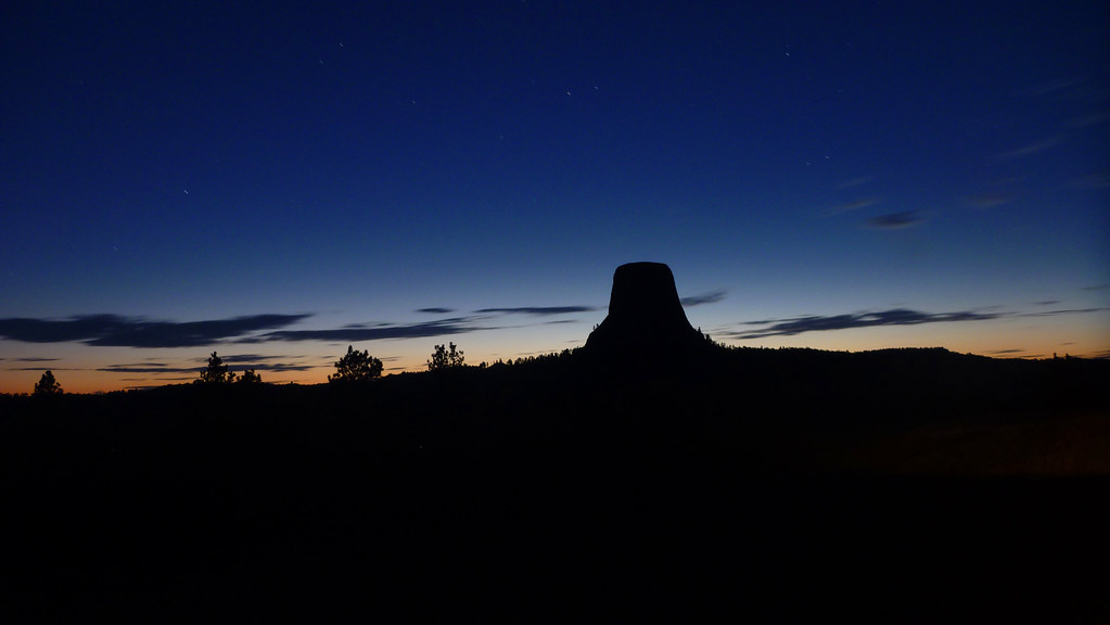 Sunset behind Devils Tower, Wyoming