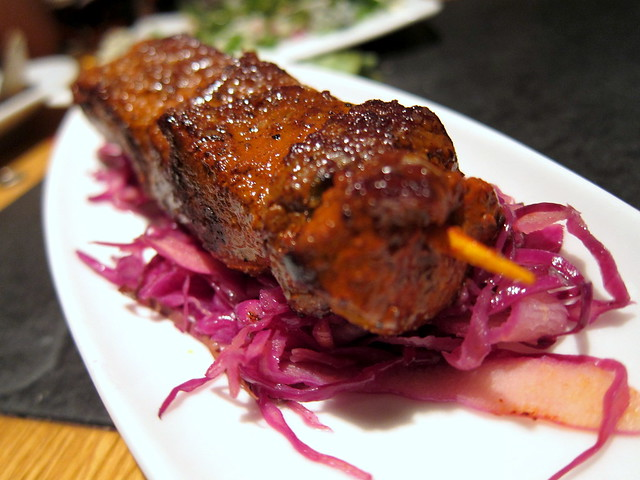 VENISON ANTICUCHO WITH A WARM RED CABBAGE SALAD