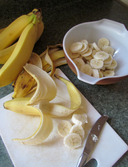 Slicing Bananas to Make Banana Whip