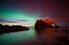 Northern Lights behind Bow Fiddle Rock, Moray, Scotland (Kenny Muir) Tags: rock night lights scotland arch nightscape natural scottish bow aurora fiddle northern moray borealis geomagnetic portknockie bowfiddle