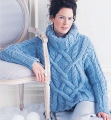 Cabled blue sweater on woman (Mytwist) Tags: woman wool girl lady sweater jumper knitted heavy aran cardigan cabled