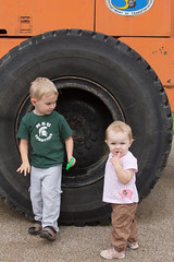 Tire (Craig Dyni) Tags: boy girl colin toddler tire finn madelyn alannah sharppark touchatruckday deltatownship dyni
