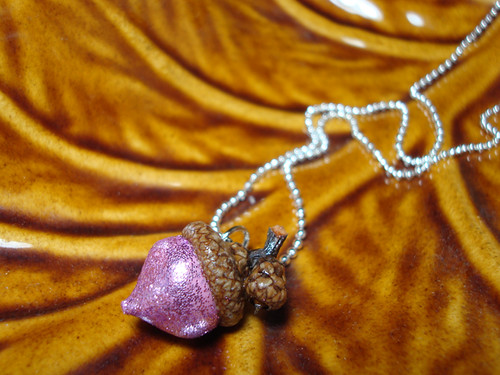 Pink Acorn Necklace With Baby