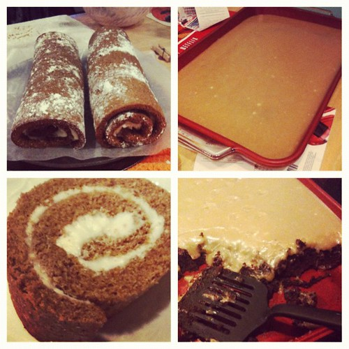 Peanut butter frosted brownies and pumpkin rolls. I have Pinterest to thank.