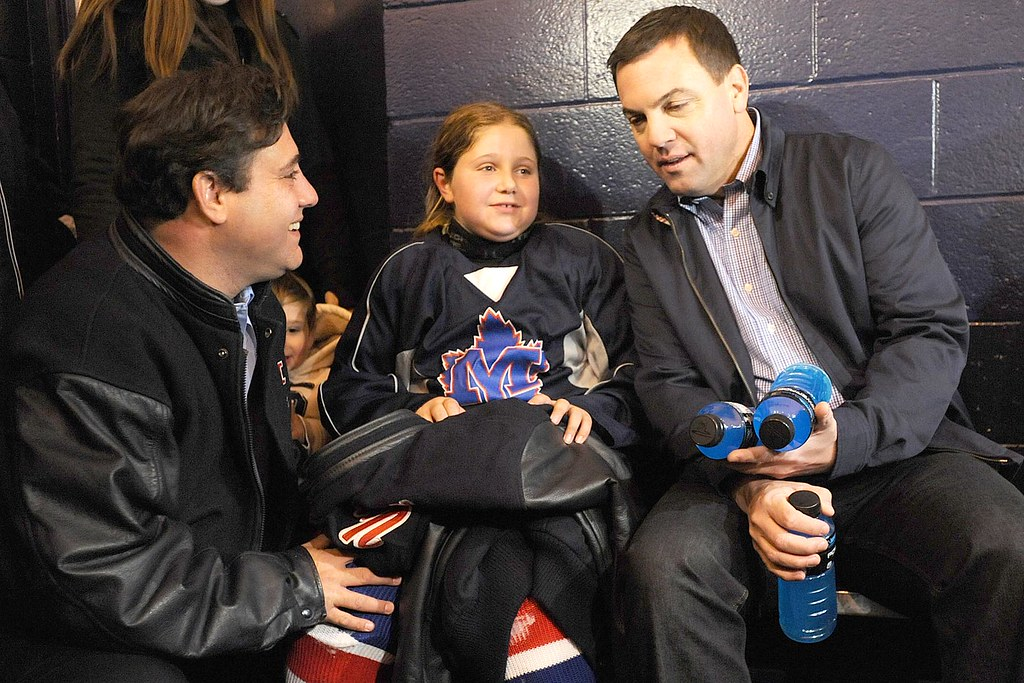 Tim Hudak speaks with young hockey players at Pleasantview arena during an announcement in Toronto, ON. Tim was speaking to voters about the Ontario PC Plan to allow income-splitting for families, all