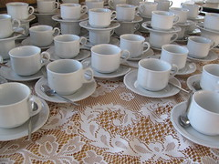 tea for more than two (Foot Slogger) Tags: cup wake lace cups tablecloth teacup teatime saucer crockery catering teaspoon cupsaucer holyname