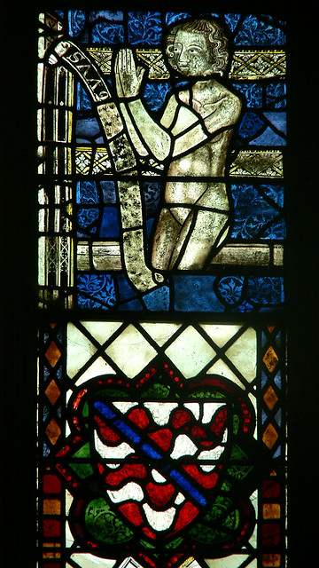 Donor panel medieval stained glass tewkesbury abbey