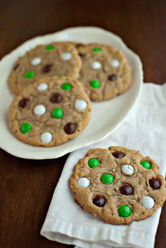 Coconut M&M Cookies-on napkin
