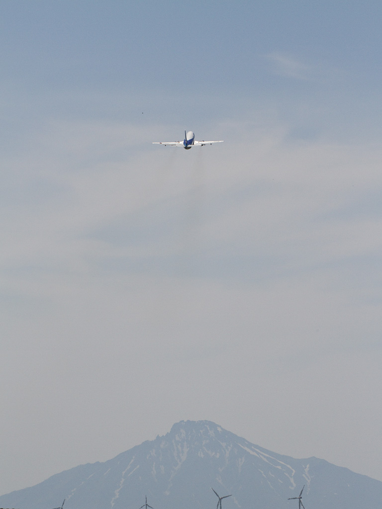 ANA's B737-500 with Mt. Rishiri.