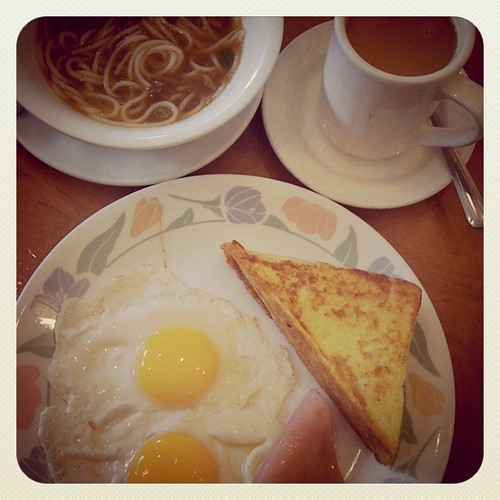 Hong Kong Cafe Breakfast, cheap and cheerful - Eggs, ham, French toast, HK milk tea, satay beef noodle soup