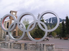 Whistler, BC Olympic Village 059 (Beauty Playin 'Eh) Tags: snow canada mountains vancouver forest whistler britishcolumbia squamish olympicvillage 2010winterolympics olympicrings vancouverstanleycup2011