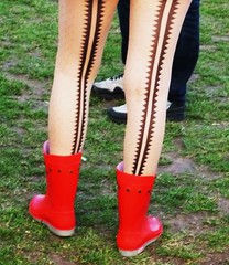 Red Wellies (teaselbrush) Tags: park street uk red england london stockings festival mud boots candid style tights rubber east shoreditch wellington cropped british 1234 ankle gummi wellies seam muddy galoshes rainboots seamed 1234festival