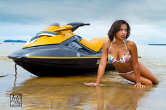 Sexy Jet (hfcnathan) Tags: sea portrait black reflection sexy beach yellow clouds reflet bikini nuages jetski plage maillot skim guyane frenchguiana