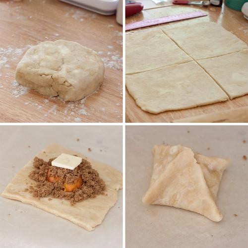 Making peach dumplings