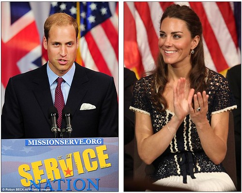 Prince William and Kate given a star-spangled send off as they fly  home with hundreds of fellow Brits on commercial BA flight    7