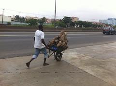 Taking His Yams To Market (Jujufilms) Tags: africa food photography foods culture yams mobil lagos nigeria farmer organic expressway ayotunde jujufilms jujufilmstv nigerianstreetauthor ogbeniayotunde africanyams takinghisyamstomarket