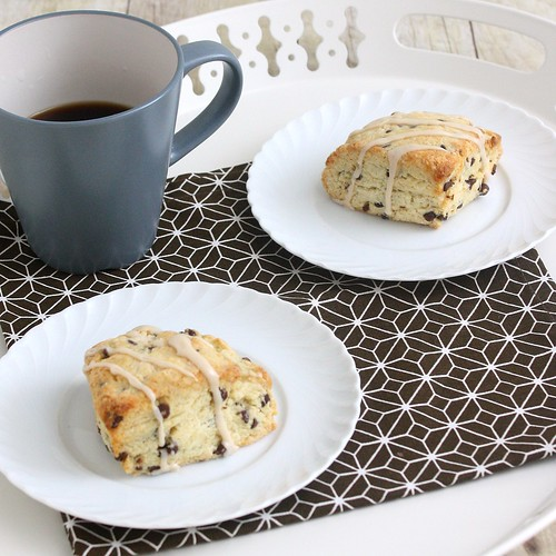 Chocolate Chip Cream Scones with Maple  Coffee Glaze