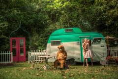 Two Dames and the Bear part V: 5 Minutes (VKMUSTBEDESTROYED) Tags: bear love vintage outdoors dress embrace camper premature chics serroscottysportsman