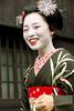 Another Side of Takahina (John Paul Foster) Tags: red sunlight black beautiful beauty smile japan walking kyoto asia maiko geiko geisha kimono hanamachi kanzashi hassaku apprenticegeisha gionkobu takahina flowertowns