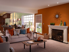 Casual Living Room (Behr Paint) Tags: blue orange black green yellow amber paint interior rustic cream livingroom charcoal denim casual walls openspace behr modernelements orangeaccentwall premiumplusultra