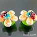 Earring : orange flower blossom ladybug